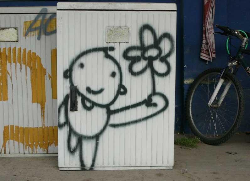 Stromkästen mit Graffitis